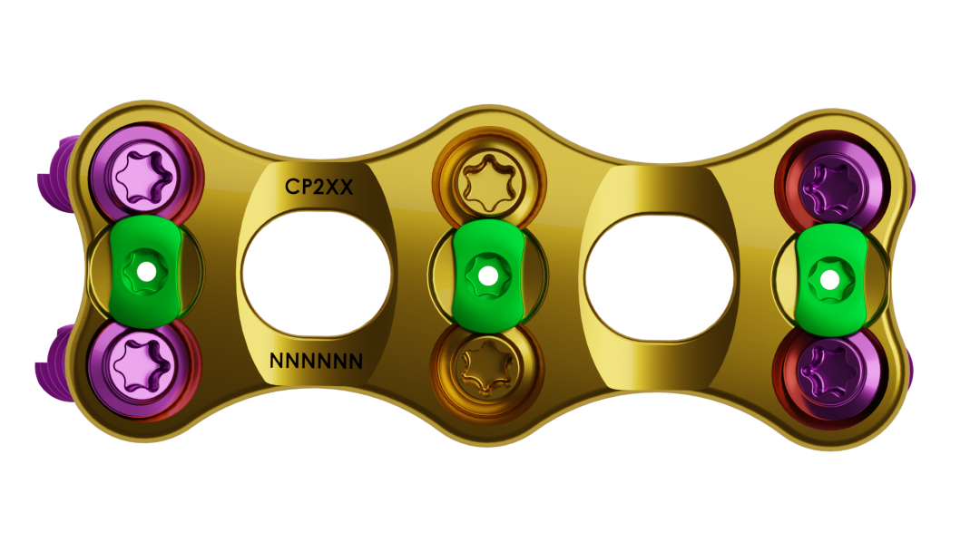 Gold colored Cervical Plate with screws and locking tabs for security. Image also shows narrow waist