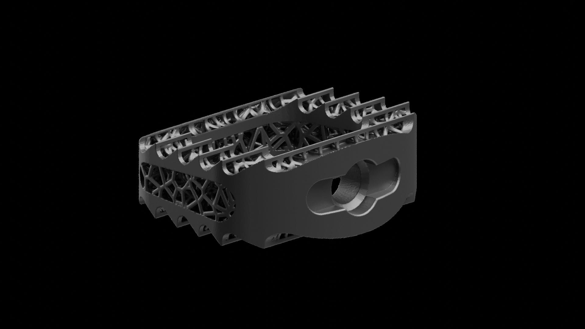 Latticed, aggressive teeth, color: black, 3D Printed Titanium Cervical IBFD implant