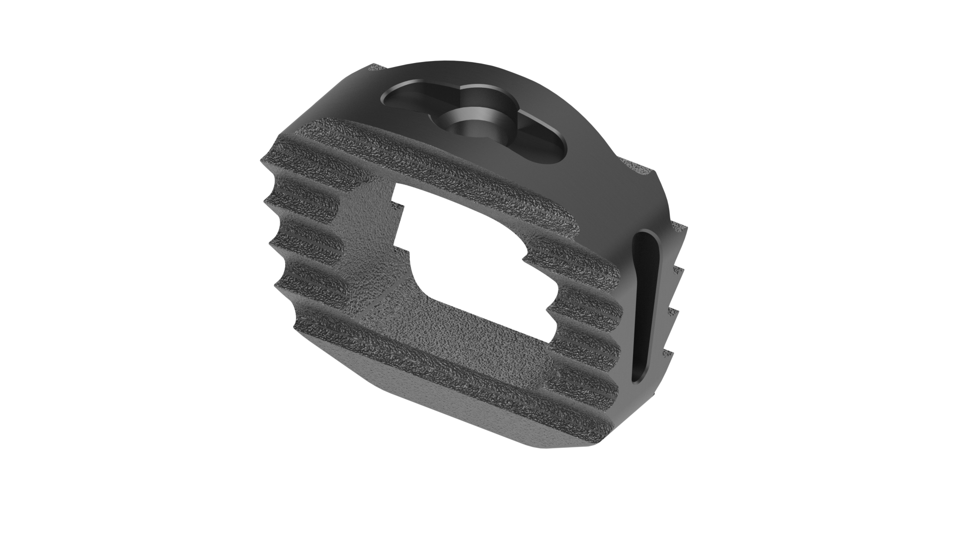 top view of a cervical interbody fusion device / cage with teeth on both sides and a large central opening