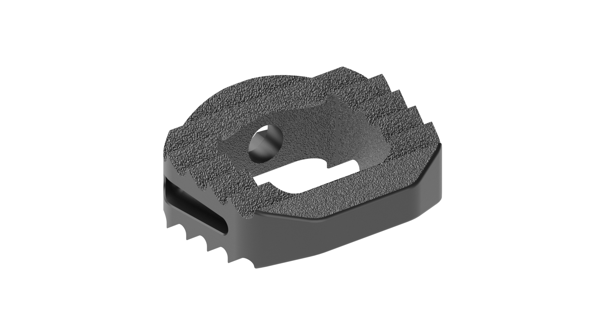 machined titanium Cervical ibfd implant with aggressive teeth and a large central opening for graft material.