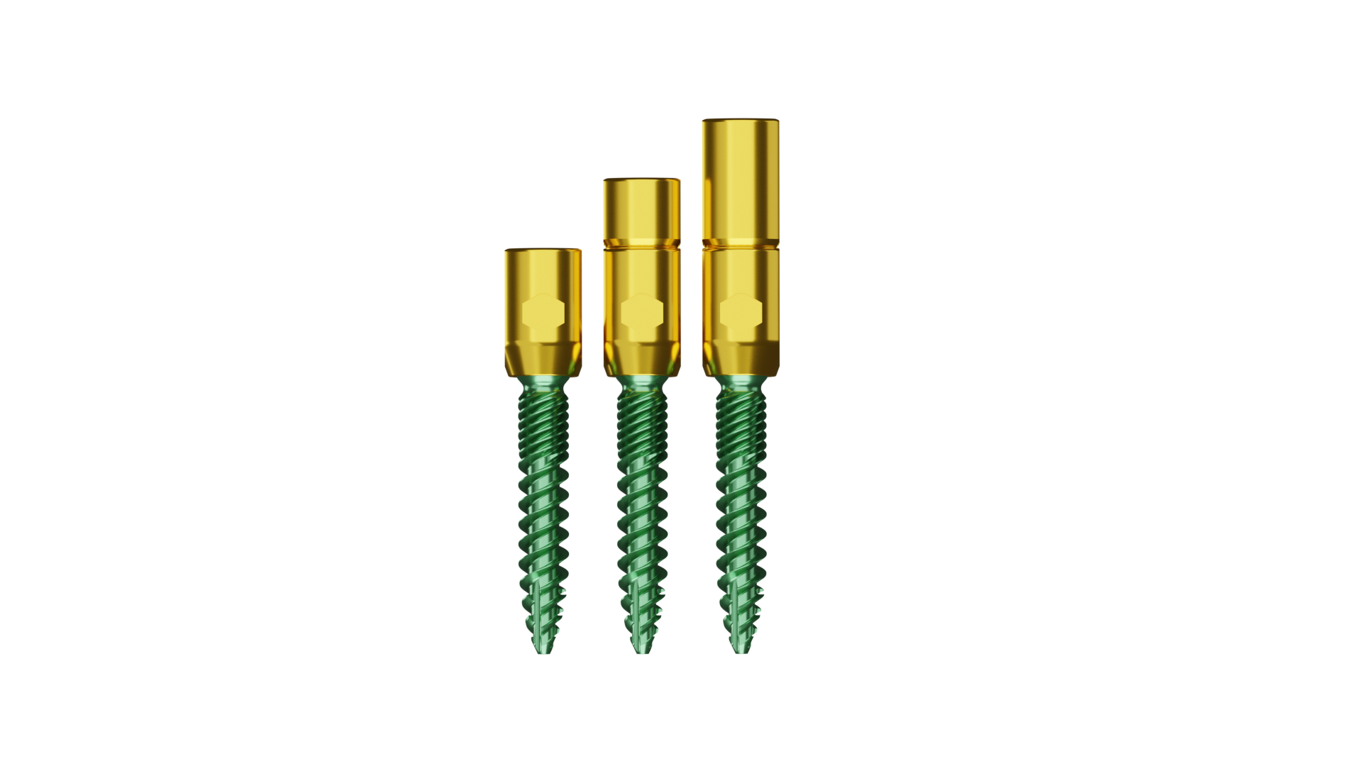 Emerald Green Screw with tighter top threads and a gold tulip / tower.