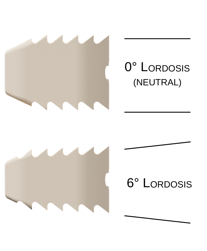 Shows the lordosis implant versus the neutral implant stacked on top of each other. Neutral and lordotic cervical ibfd implants