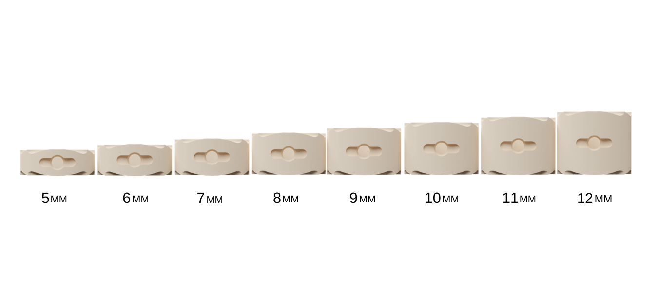 Horizontal size guide for mm size differences
