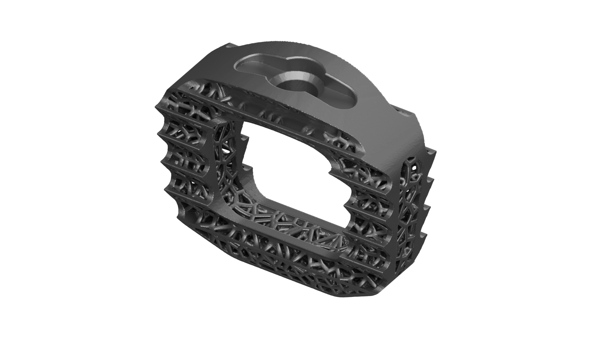 Top View of the latticed, aggressive teeth 3D Printed Titanium Cervical IBFD implant