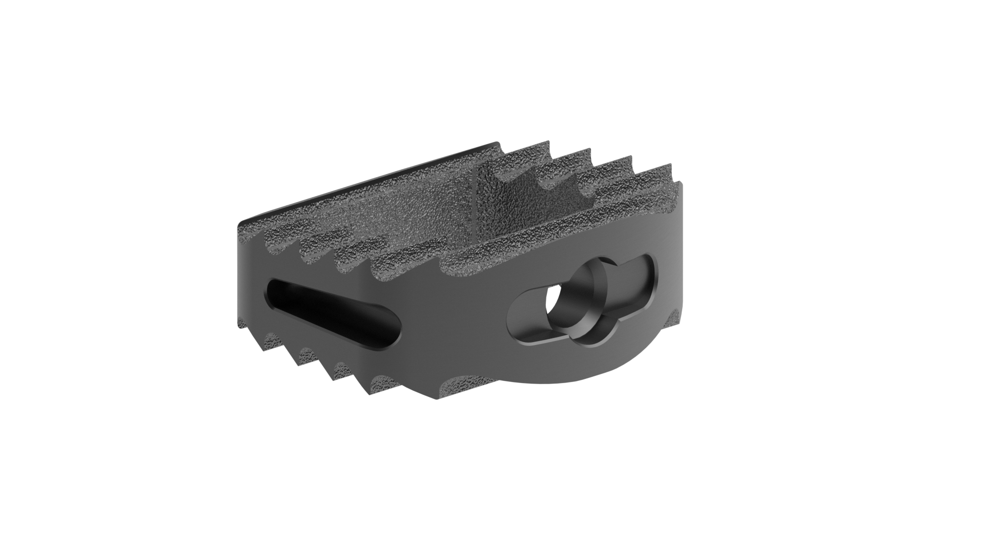 machined titanium cervical ibfd cage angle shows the side opening and slim nature of the implant
