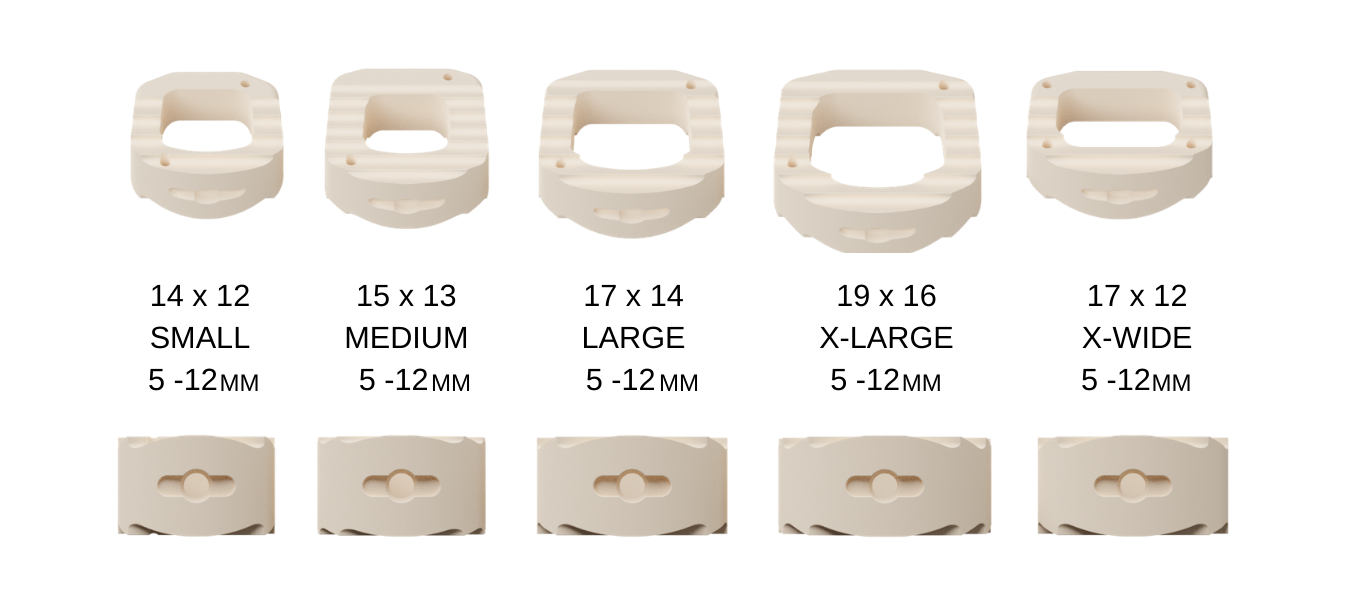 Image showing the sizes of the cervical interbody fusion devices.