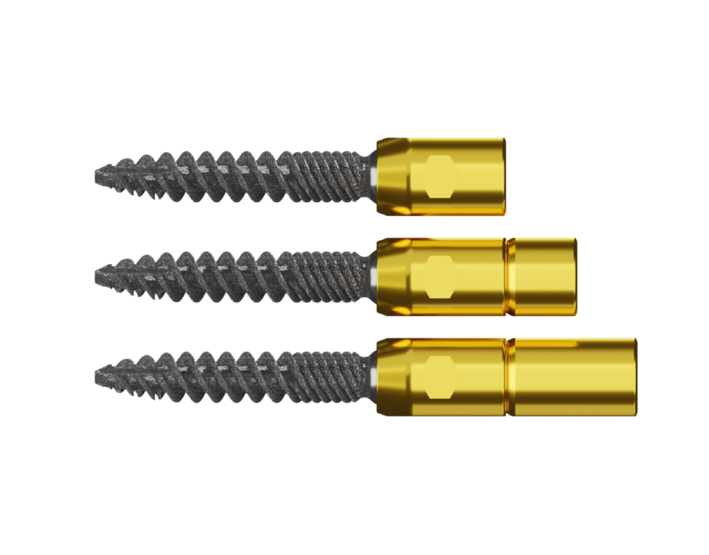Low top, Reduction, and super reduction pedicle screws with gold tulip and surfaced screw.